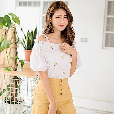 iMODA STAR-高含棉整件刺繡小花圖樣澎袖甜美上衣