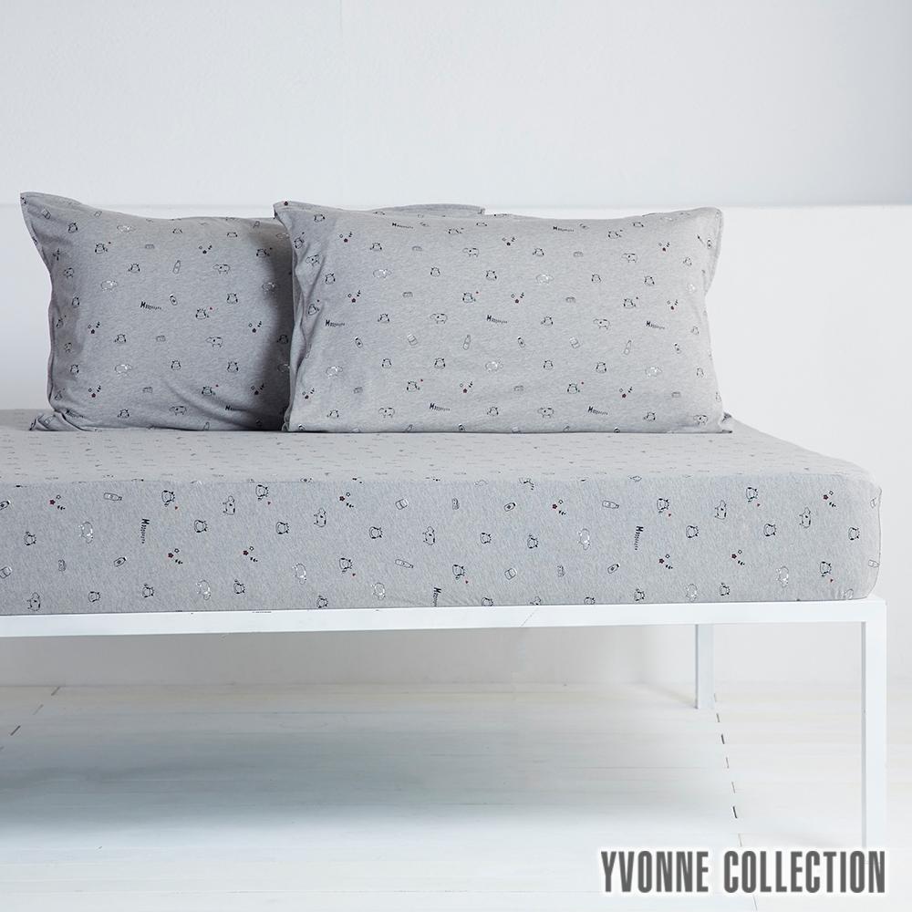 YVONNE COLLECTION 乳牛印花純棉床包(雙人150x186公分)-岩石灰