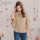東京著衣-YOCO 細膩高領綁結細壓折荷葉飛鼠袖上衣-S.M.L(共兩色)