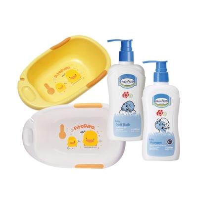 黃色小鴨雙色豪華型沐浴盆(白/黃)+貝恩沐浴精+洗髮精