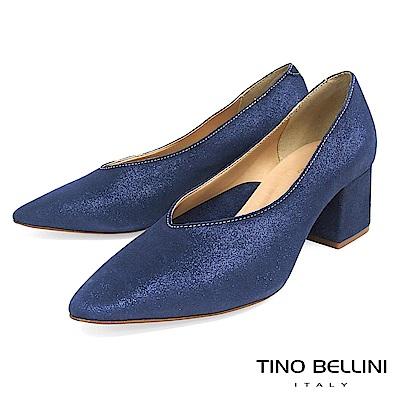 Tino Bellini 義大利進口V型深口尖楦中跟鞋 _ 藍