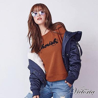 Victoria 活動下襬異材質短毛長袖厚T-女-咖啡
