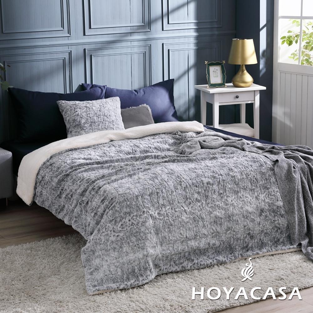HOYACASA雪藏灰 雪貂絨羊羔加大厚毛毯(180X200CM)