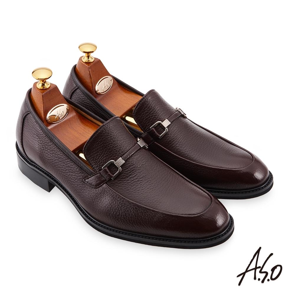 A.S.O 職場通勤 勁步雙核心柔軟金屬皮扣樂福鞋-咖啡