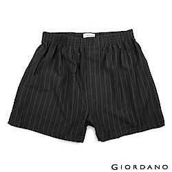 GIORDANO 男裝高品味沈穩條紋配色四角褲-32 黑灰條紋
