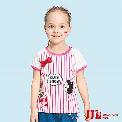 JJLKIDS 可愛白雪公主印花條紋短袖T恤(紅色)