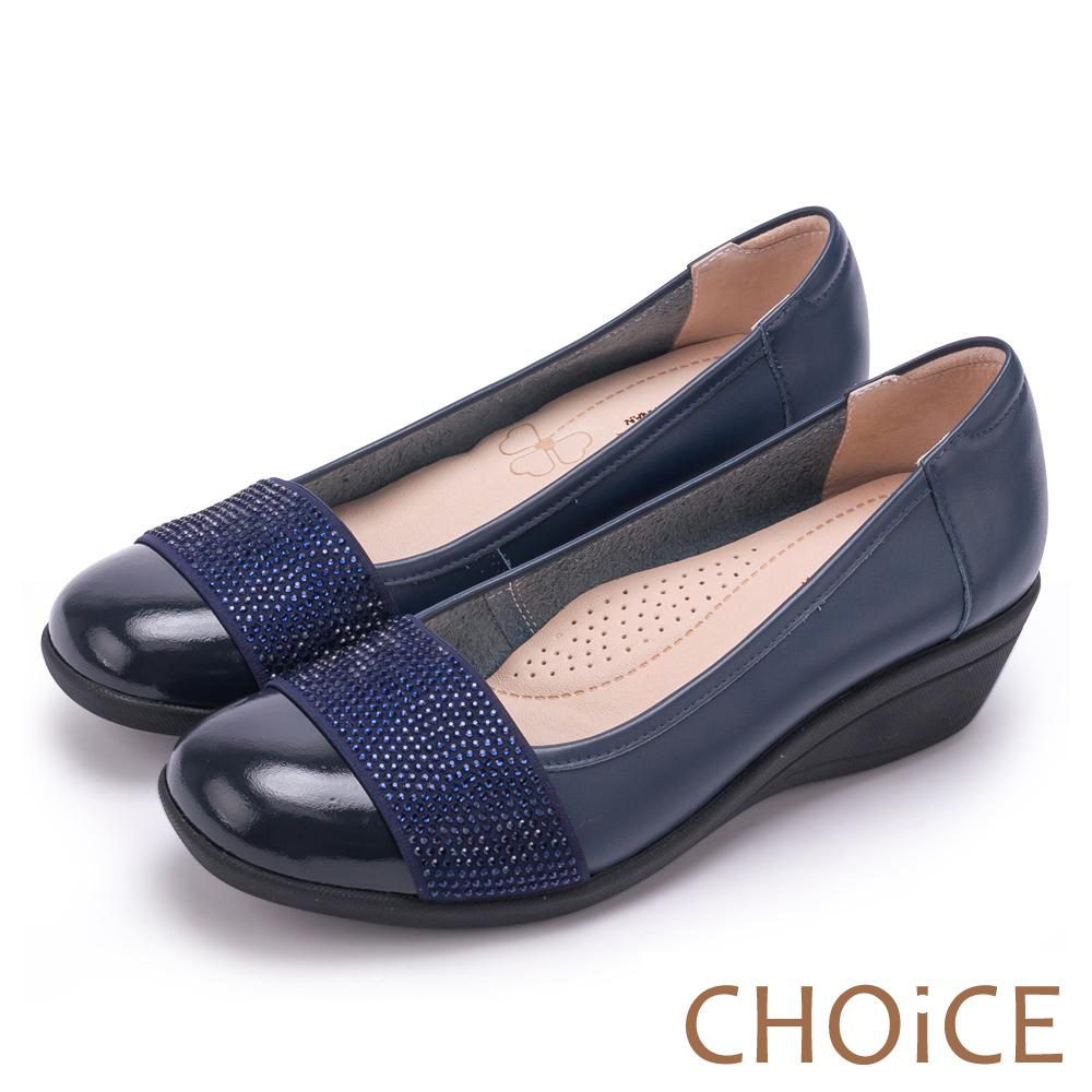 CHOiCE Q軟舒適優雅 質感牛皮水鑽坡跟鞋-藍色