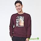 bossini男裝-印花厚棉運動衫11茄紅