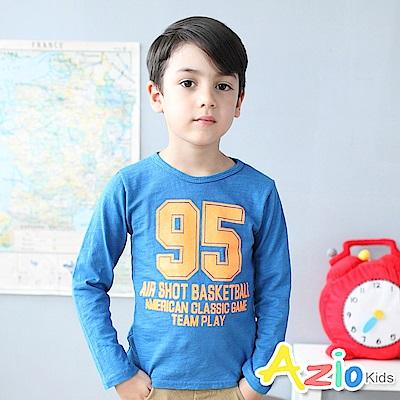 Azio Kids 上衣 95數字英文印花圓領長袖t恤(藍)