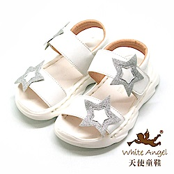 天使童鞋 可愛星星防水涼鞋(小童)i938-白