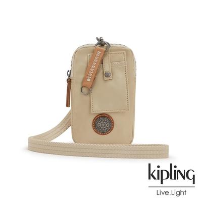 Kipling 淺焙烏龍拿鐵色拉鍊多功能收納斜背包-FOSTER
