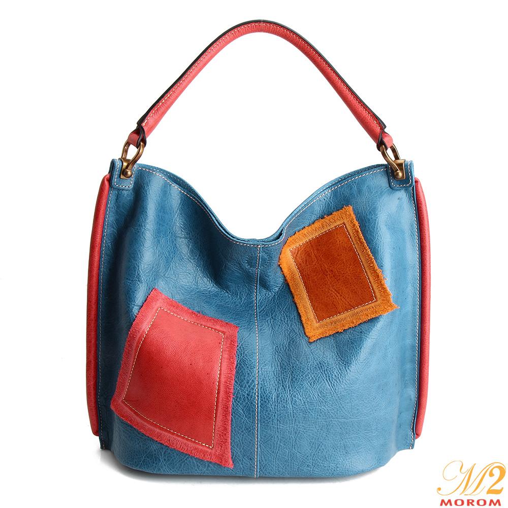 M2原皮手作工藝 真皮率性民族風造型肩背包(藍色)