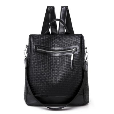 I.Dear-韓版時尚編織紋皮革雙肩拉鍊肩背後背包BG122(黑色)
