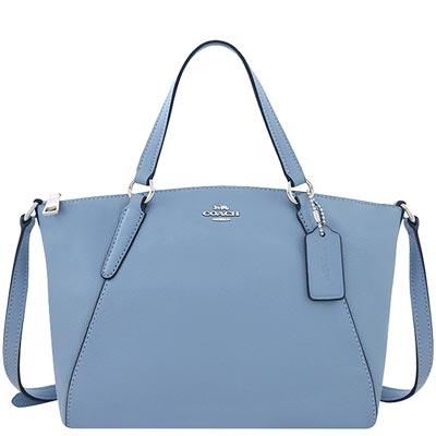 COACH 粉藍色皮革小型波士頓包