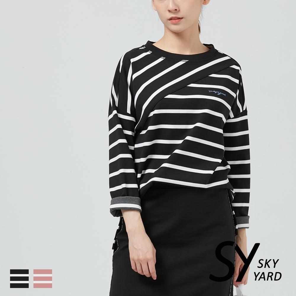 【SKY YARD 天空花園】條紋斜剪拼接長袖上衣-黑白