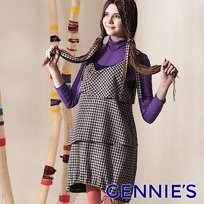 【Gennie's奇妮】千鳥紋蛋糕層次秋冬孕婦背心洋裝-紫(G2409)