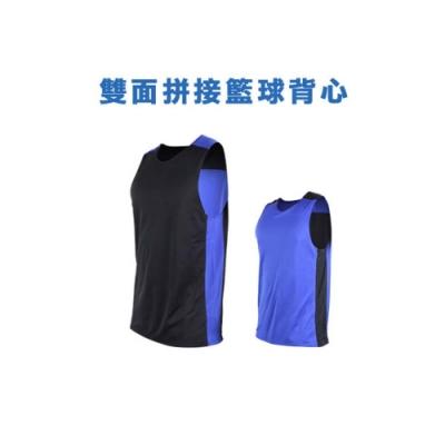 INSTAR 男女 雙面剪接籃球背心 黑寶藍