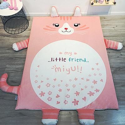 HUEI生活提案 水晶絨 可拆洗動物造型兒童床墊 粉粉貓