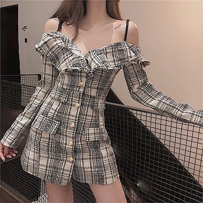 DABI 韓系平口時尚顯瘦露肩格紋長袖洋裝