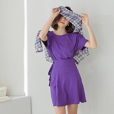 IREAL 品牌刺繡純色圓領後鬆緊套裝兩件組