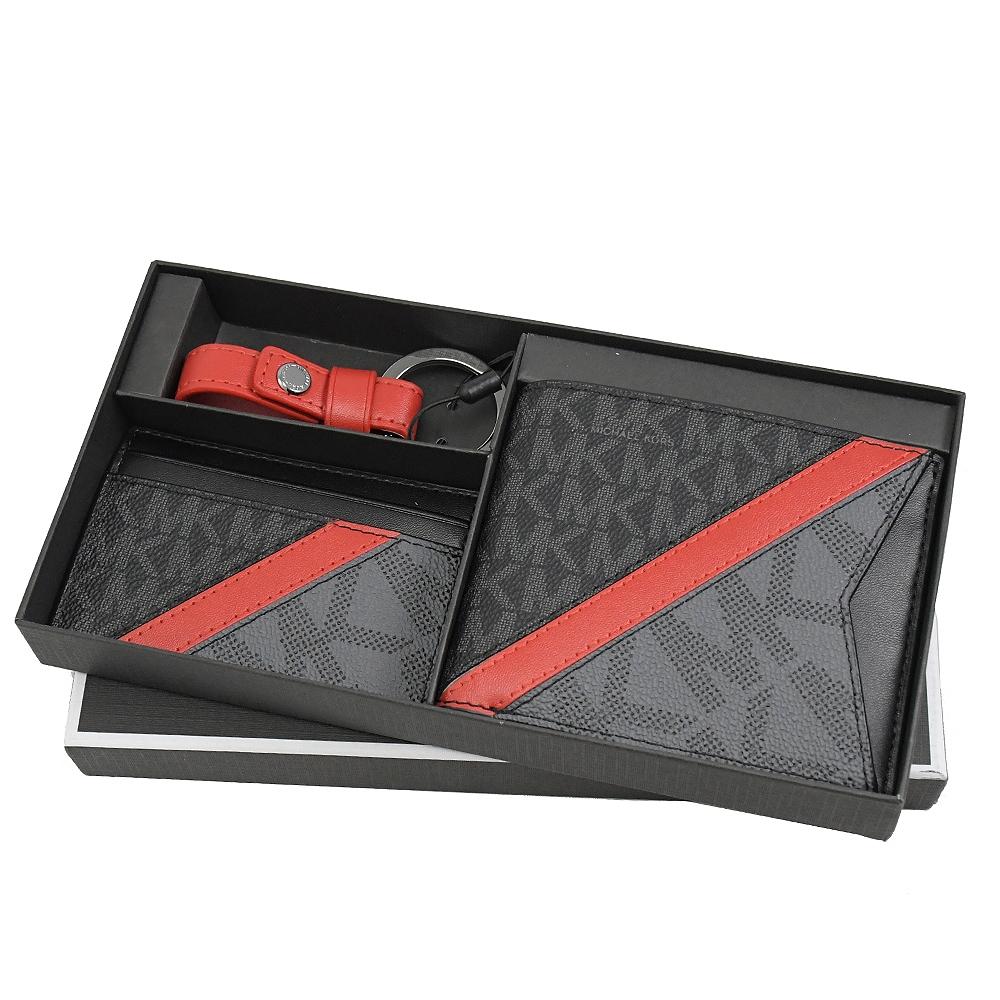 MICHAEL KORS GIFTING 經典PVC撞色八卡對開短夾禮盒組(黑灰/紅)