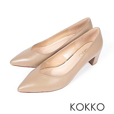 KOKKO - 愛的呢喃粗跟尖頭高跟鞋-焦糖駝