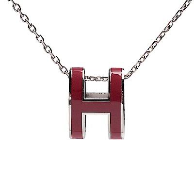 HERMES 經典Pop H立體簍空橢圓LOGO項鍊(磚紅色X銀)
