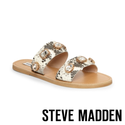 STEVE MADDEN-JACE 奢華金閃 水鑽動物紋二字帶拖鞋-蛇紋