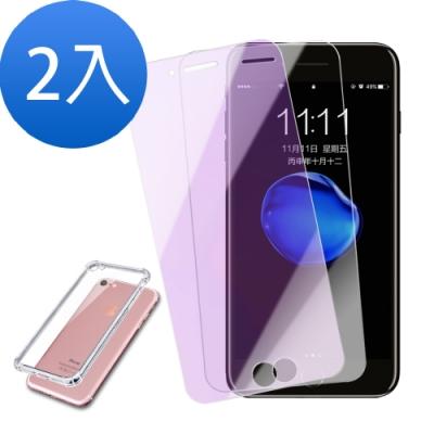 iPhone7/8透明/藍紫光鋼化玻璃膜-2入組 -贈手機殼