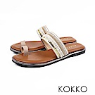 KOKKO -漫步海島旅行平底指環涼鞋 - 金礦黃