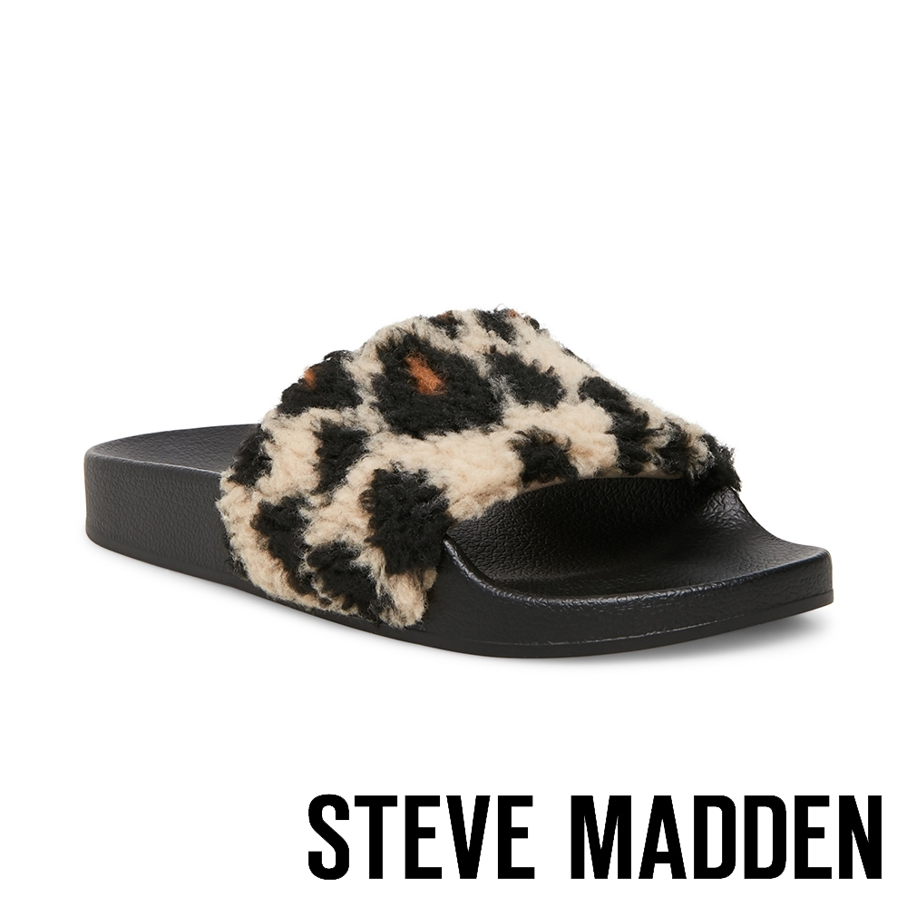 STEVE MADDEN-SHEAR 時尚素面絨毛拖-豹紋