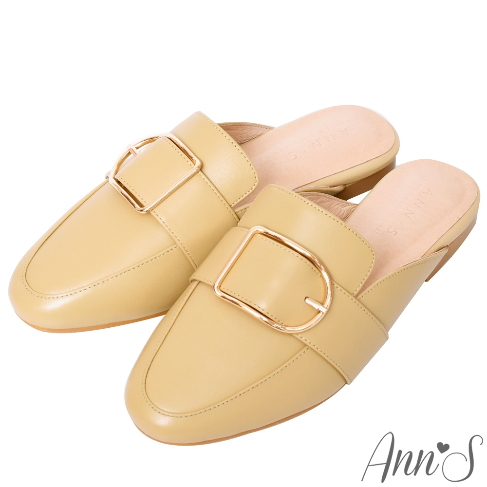 Ann'S質感真小羊皮D型扣帶穆勒鞋-黃(版型偏小)
