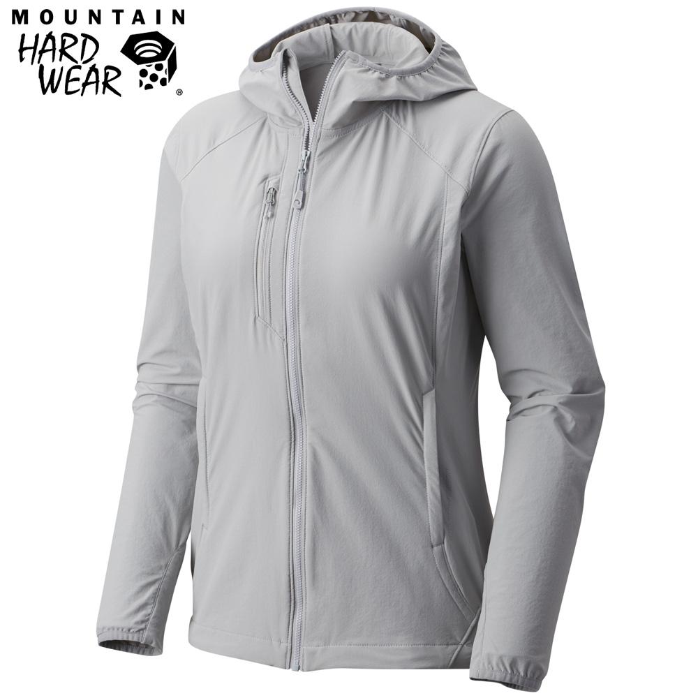Mountain Hardwear 女款-防曬50防潑軟殼連帽外套-灰色