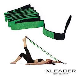 Leader X 多功能分隔瑜珈繩 伸展訓練帶 拉筋帶 綠色 - 急