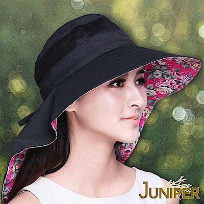JUNIPER 女款抗紫外線UV防潑水花布高頂披風遮陽帽