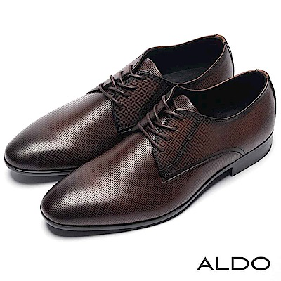 ALDO 原色真皮網眼鞋面綁帶式男尖頭粗跟皮鞋~深咖啡色