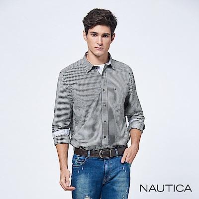Nautica經典小格紋長袖襯衫-黑色