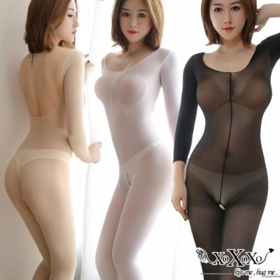 貓裝網衣 透色誘惑長袖開襠連身絲襪 黑膚白3件組 XOXOXO