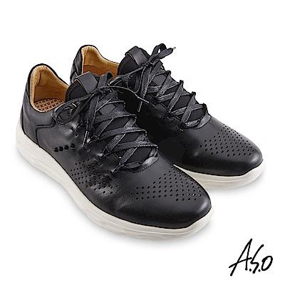 A.S.O機能休閒 超能耐II代拋色沖孔綁帶休閒鞋-黑