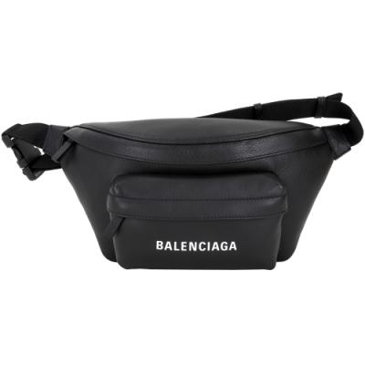 BALENCIAGA EVERYDAY 品牌字母小牛皮胸肩背/腰包(黑色)