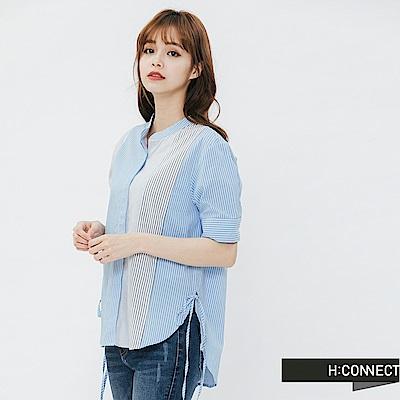 H:CONNECT 韓國品牌 女裝-條紋綁帶造型襯衫-藍
