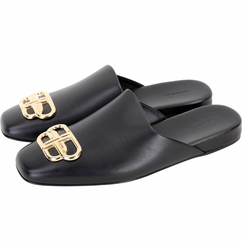 BALENCIAGA BB LOGO 黃銅標誌光滑小牛皮穆勒鞋(黑色)