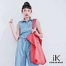 iK-高腰無袖牛仔腰鬆緊綁帶連身長寬褲 淺藍