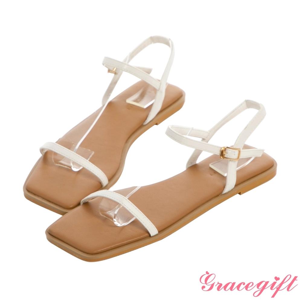 Grace gift-一字繫帶撞色平底涼鞋 白
