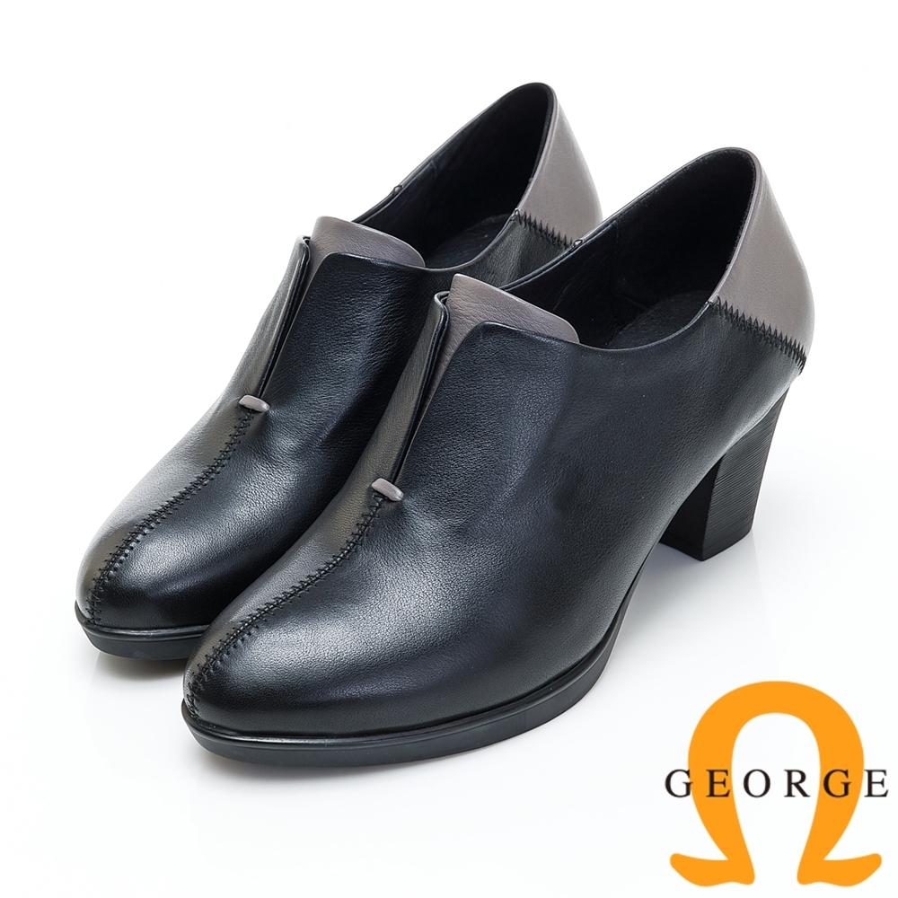 GEORGE 喬治皮鞋 素面兩色拼接低筒踝靴-黑色
