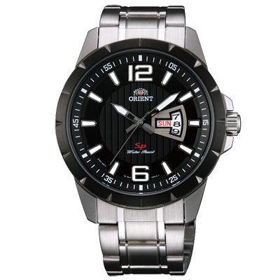 ORIENT東方經典時尚日期手錶FUG1X001B-黑X銀/43mm