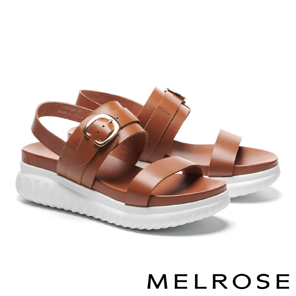 涼鞋 MELROSE 簡約率性金屬釦飾牛皮厚底涼鞋-咖