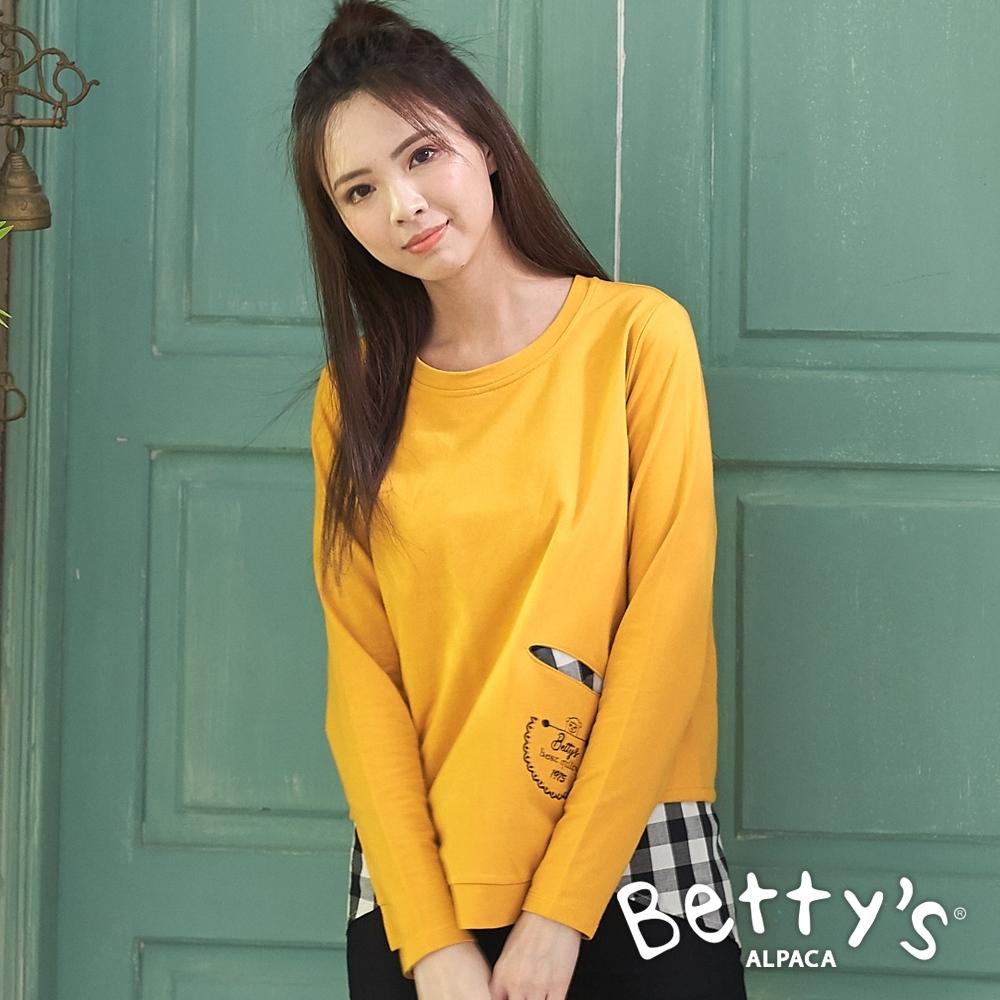 betty's貝蒂思 圓領內拼接格紋布上衣(橙黃色)