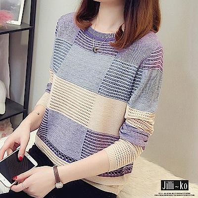 JILLI-KO 薄款拼色鏤空針織衫- 紅/黃/紫