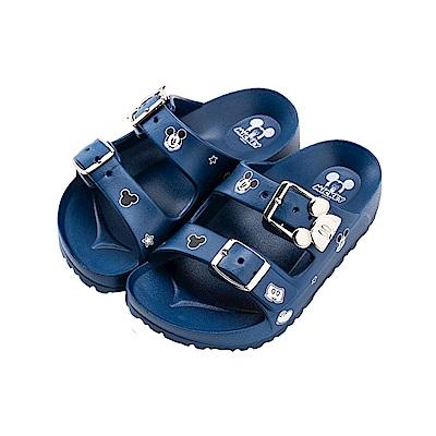 迪士尼童鞋 米奇 造型帶扣防水拖鞋-藍